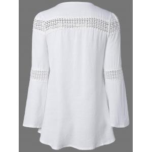 Lace Splicing V Neck Tunic Blouse - WHITE XL