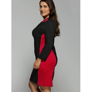 Color Block  Long Sleeve Plus SizeDress - RED 6XL