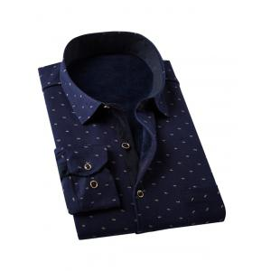 All-Over Printed Thermal Shirt in Slim Fit -