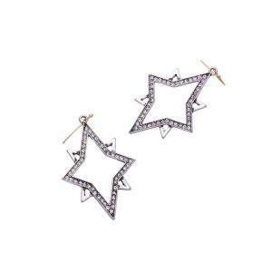 Rhinestone Star Drop Earrings -