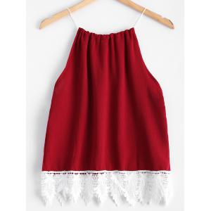 Lace Splicing Drawstring Tank Top - RED M