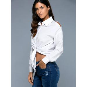 Long Sleeve High Low Knot Front Shirt -