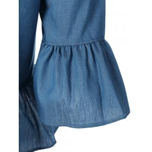 Off The Shoulder Flounce Denim Peplum Blouse - DENIM BLUE XL