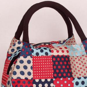 Plaid Pattern Polka Dot Color Block Tote Bag -
