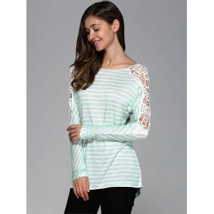 Lace Patchwork Striped Blouse -