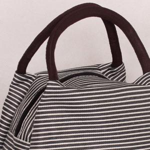 Nylon Pinstripe Color Splicing Tote Bag - WHITE/BLACK