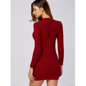 Ribbed Long Sleeve Sweater Dress -
