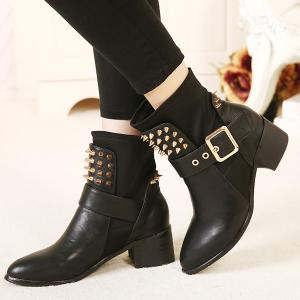 Punk Buckle Studded Chunky Heel Boots - BLACK 38