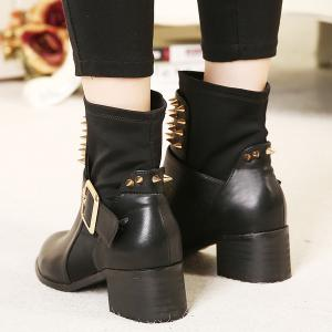 Punk Buckle Studded Chunky Heel Boots - BLACK 39