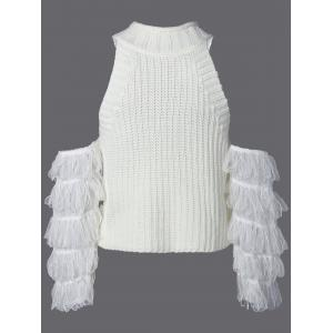 Ribbed Fringe Sleeve Cold Shoulder Knitwear -