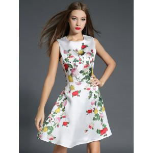 Floral Print Fit and Flare Floral Cocktail Dress - WHITE XL