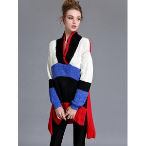 Color Block High Low Pullover Sweater -