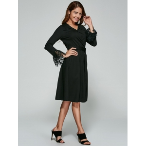 See-Through Laciness Surplice Dress -