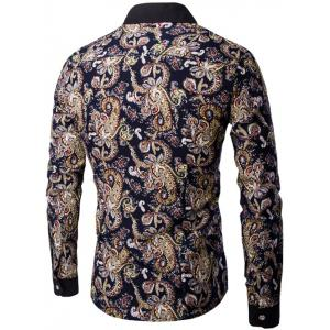 Contrast Collar Long Sleeve Paisley Printed Shirt - COLORMIX 3XL