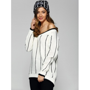 Loose Striped Pullover Sweater -