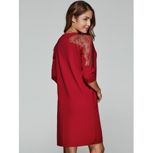 3/4 Sleeves Laciness Knitted Dress -