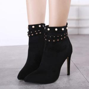Beaded Rivet Pointed Toe Stiletto Heel Boots -