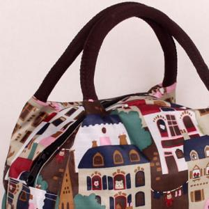 Zipper House Print Color Block Tote Bag -