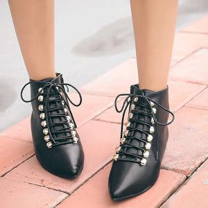 Metal Lace-Up Pointed Toe Hidden Wedge Boots -