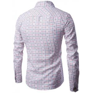 Long Sleeve Pocket Design Plaid Shirt -