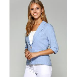 Lapel One Button Slimming Plain Blazer - AZURE M