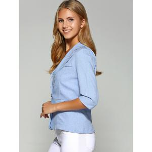 Lapel One Button Slimming Plain Blazer - AZURE 4XL