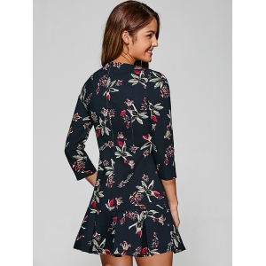 3/4 Sleeves Floral Print Pleated Dress -
