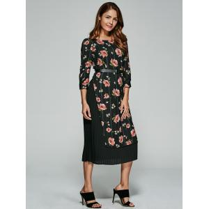 Floral Print Chiffon Patchwork Belted Dress -