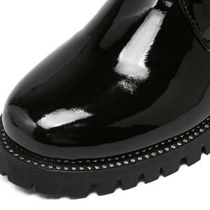Chunky Heel Patent Leather Combat Boots -
