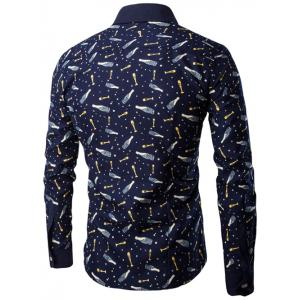 All-Over Bottle Print Long Sleeve Shirt - YELLOW 3XL