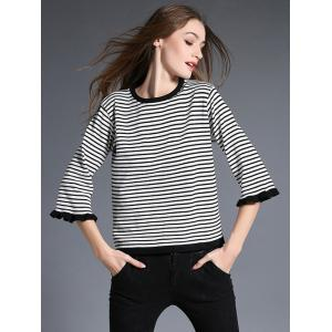 3/4 Sleeve Striped Pullover Sweater -