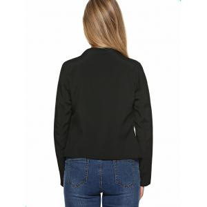 Stand Collar Plain Slimming Blazer - BLACK XL