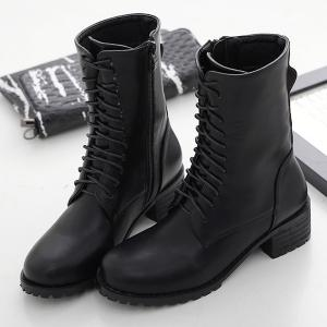 Mid-Calf Chunky Heel Lace-Up Combat Boots -