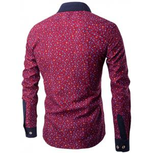 Long Sleeve Contrast Collar Bubble Print Shirt - WINE RED 2XL