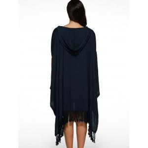 Handkerchief Hooded V Neck Fringe Cape Dress - CADETBLUE XL