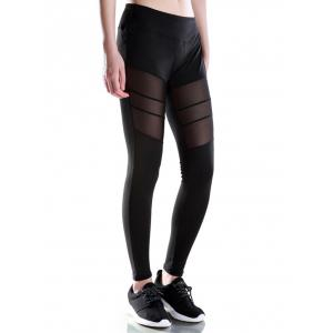 Voile Patched Stretchy Sport Leggings - BLACK XL