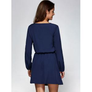 Long Sleeve A-Line Dress - PURPLISH BLUE 2XL