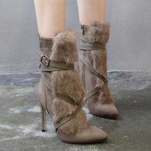 Furry Cross-Strap Stiletto Heel Boots - KHAKI 39