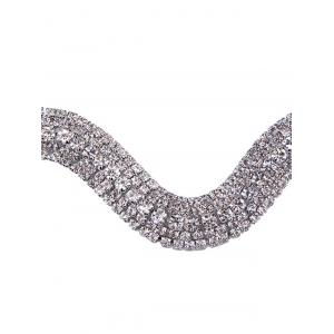 Wavy Tiered Rhinestone Alloy Choker Necklace -