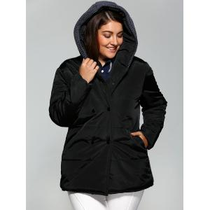 Plus Size Double-Breasted Knit-Insert Hooded Coat - BLACK 4XL