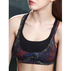 Galaxy Print Crossback Push Up Yoga Bra -