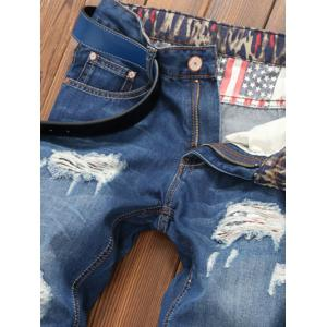 Star Print Hemming Design Distressed Zipper Fly Straight Leg Jeans - BLUE 38