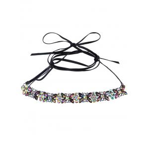 Adjustable Rhinestone Bowknot Choker Necklace - COLORFUL