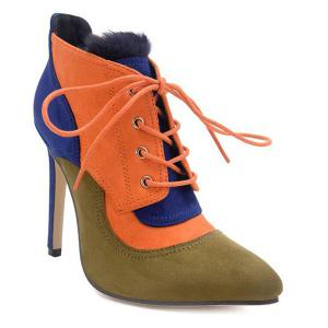 Lace-Up Pointed Toe Color Block Ankle Boots -