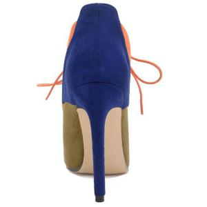 Lace-Up Pointed Toe Color Block Ankle Boots - BLUE 39