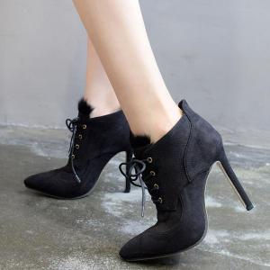 Pointed Toe Stiletto Heel Lace-Up Ankle Boots -