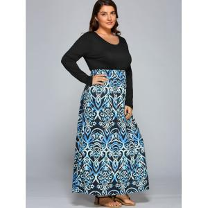 Plus Size Floral Maxi Long Sleeve Casual Dress -