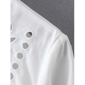 Button Back Eyelets Embroidered Top -