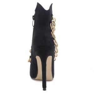 Pointed Toe Chains Stiletto Heel Boots -