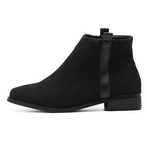 Side Zip Suede Flat Ankle Boots -